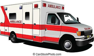 c-hang, furgon, felett, modern, white., mentőautó