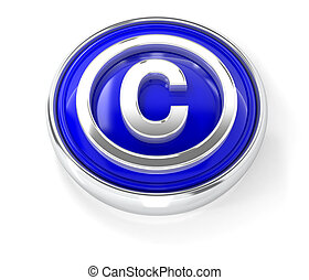 C icon on glossy blue round button