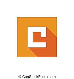 c, illustration, vektor, brev, logo, konstruktion, ikon