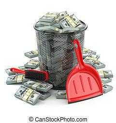 c, immondizia, pacchi, can., soldi, dollaro, valuta, spreco, o
