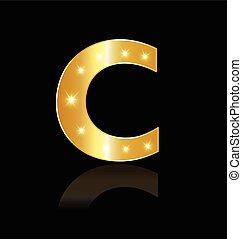 c, incandescent, lumières, logo, lettre