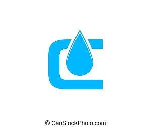 c, initiale, goutte, eau, lettre, logo