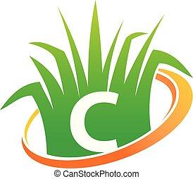 c, initiale, soin pelouse, centre