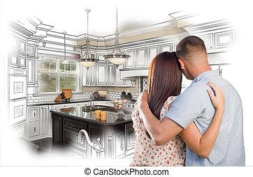 c, intérieur, couple, jeune, conception coutume, militaire, dessin, cuisine