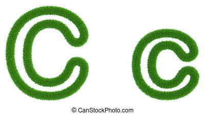 c, isolé, arrière-plan., vert, lettre, frais, blanc, herbe