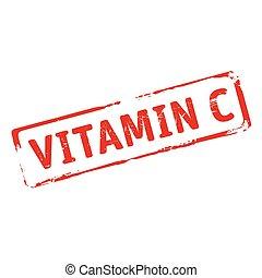 c., kleur, tekst, vitamine, postzegel, vector, illustration.