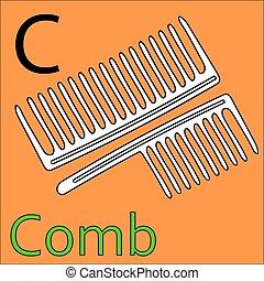 c, kleuren, alphabet., vector, letter., kam, boek