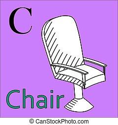 c, kleuren, alphabet., vector, letter., stoel, boek
