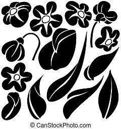 c, kwiat, elementy