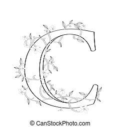c, letra, floral, esboço