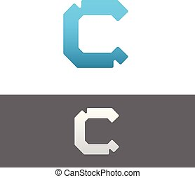 C Letter Alphabet Abstract vector text logo