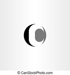 c letter circle vector black icon logo