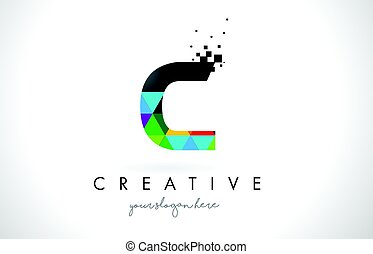 C Letter Logo with Colorful Triangles Texture Design Vector.