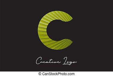 C Letter Logo with Palm Tree Leaf Pattern Design.