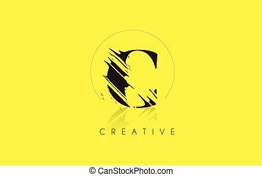 C Letter Logo with Vintage Grundge Cut Design. Destroyed Drawing Elegant Letter Icon Vector.