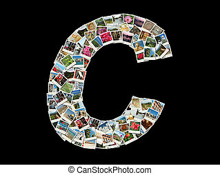 """C"" letter made like photo collage"