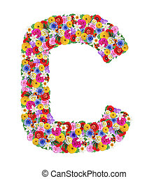 C, letter of the alphabet in different flowers