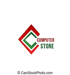 C letter vector icon for computer store
