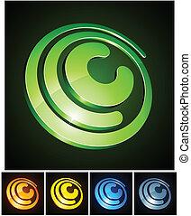 c, letter., vibrante, 3d
