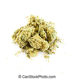 c., monde médical, isolé, marijuana, arrière-plan., blanc