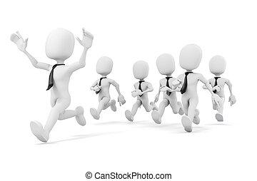 c, negócio, sucesso, raça, 3d, homem