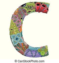 c, objet, décoration, vecteur, lettre, zentangle, zentangle.