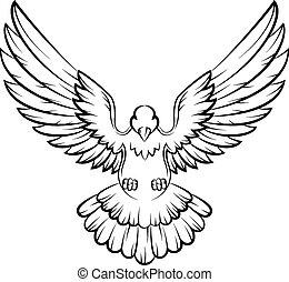 c, oiseaux, logo, colombe, dessin animé, paix