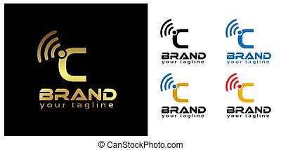 C online logo template, stock logo template.