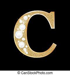 c, or, diamant, lettre