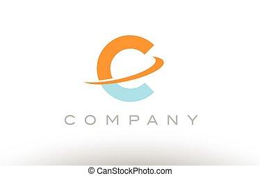 C orange blue logo icon alphabet design