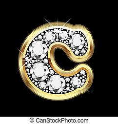c, ouro, diamantes, bling, vetorial