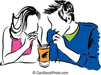 c, pareja, ilustración