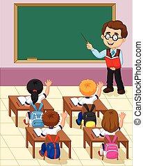 c, pequeno, criança, estudo, caricatura