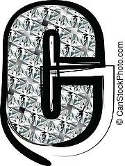 c, police, lettre, diamant