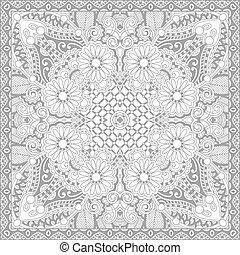 c, quadrado, adultos, -, livro, coloração, floral, original,...