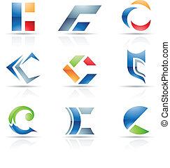 c, résumé, lettre, icônes