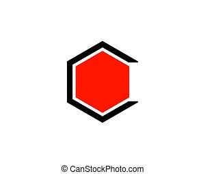 c, sagoma, hexa, disegno colore, lettera, logotipo