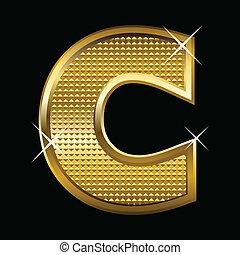 c, schriftart, goldenes, brief, art