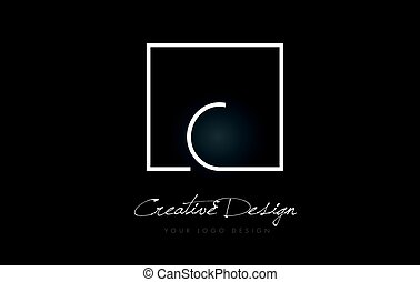 C Square Frame Letter Logo Design with Black and White Colors.