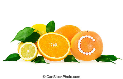 c, toranja, vitamina, sobre, laranja, fundo, limão, pílulas, branca