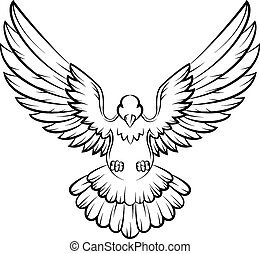 c, uccelli, logotipo, colomba, cartone animato, pace