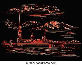 c/, vector, negro, petersburg, 6, mano, dibujo, rojo