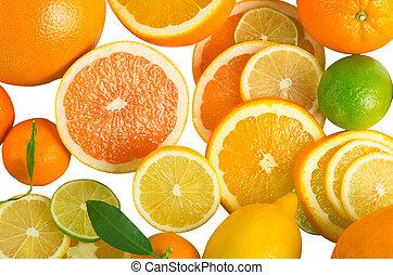 c, vitamina, aislado, cortar, fruta, sobrecarga, blanco, pilas