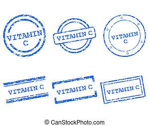 c, vitamine, postzegels
