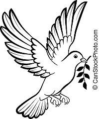 c, vogels, logo, duif, spotprent, vrede