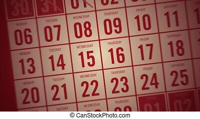c, wezen, het tonen, dagen, maand, kalender