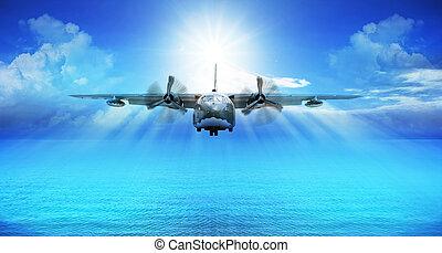 c123, wojskowy, samolot, lądowanie