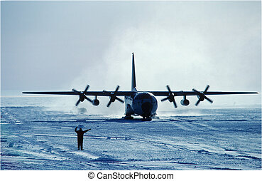 C130 skiing - directing a C130 at Siple Station Antarctica