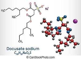 c20h37nao7s, sulfosuccinate, común, laxative., modelo, dioctyl, sodio, tratamiento, taburete, softener, fórmula, estructural, químico, estreñimiento, molécula, molécula, docusate, docusate