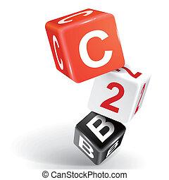 c2b, słowo, jarzyna pokrajana w kostkę, ilustracja, 3d